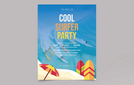Free Summer Surfer Event Flyer Template (PSD)