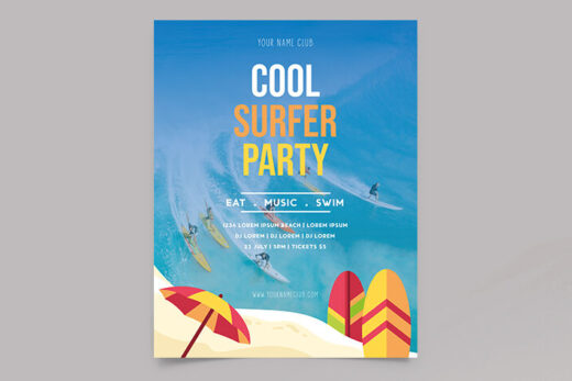 Free Summer Surfer Event Flyer Template (PSD)