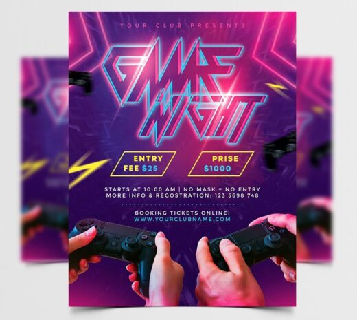 Game Night Event Free Flyer Template (PSD)