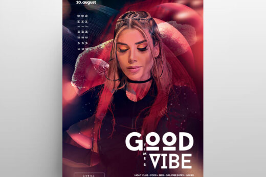 Good Vibes Party Free Flyer Template (PSD)