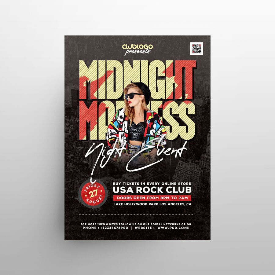 Midnight Club Party Free Flyer Template (PSD)