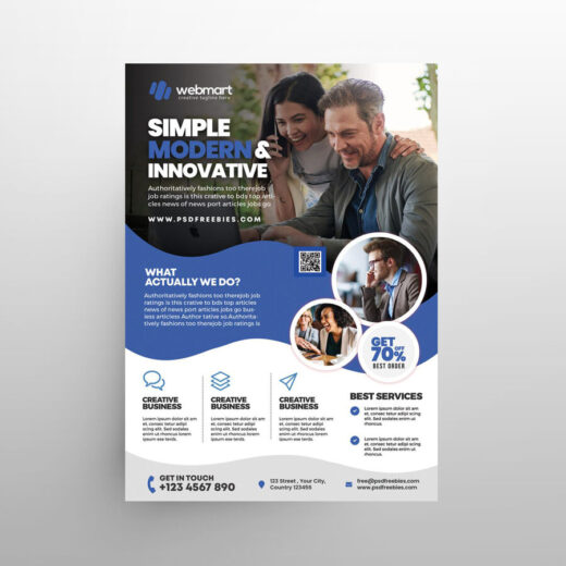 Modern Business Company Free Flyer Template (PSD)