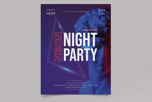 Neon Club Party Free Flyer Template (PSD)