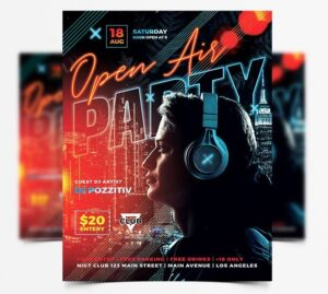 Open DJ Party Free Flyer Template (PSD)