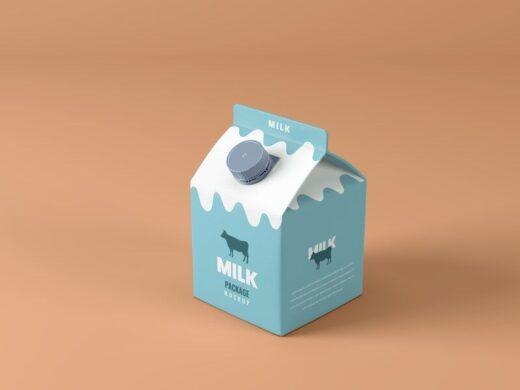 Small Milk Box Free Mockup (PSD)