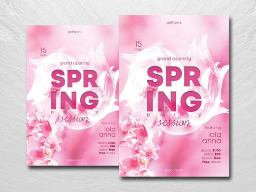 Spring Session Party Free Flyer Template (PSD)