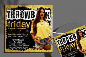 Throwback Party DJ Free Flyer Template (PSD)