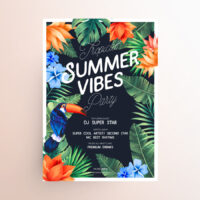 Tropical Summer Party Free Flyer Template (PSD)