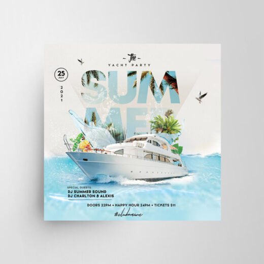 2021 Yacht Event Free Flyer Template (PSD)