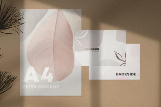 A4 Flyer & Postcard Free Mockup