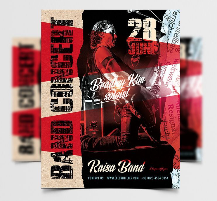 Band Live Concert Free Flyer Template (PSD)