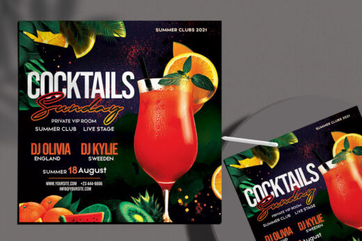 Cocktail Night Party Free Flyer Template (PSD)