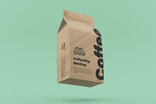 Flying Coffee Bag Free Mockup