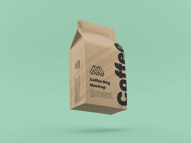 Flying Coffee Bag Free Mockup