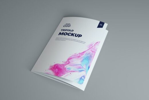 Folded TriFold Brochure Free Mockup