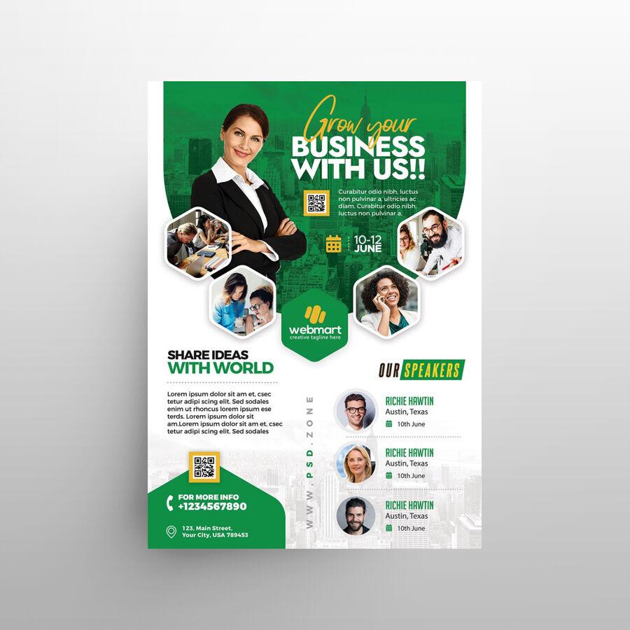 Free Business Event Seminar Flyer Template (PSD)