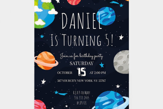 Free Kid's Birthday Invitation Flyer Template (PSD)
