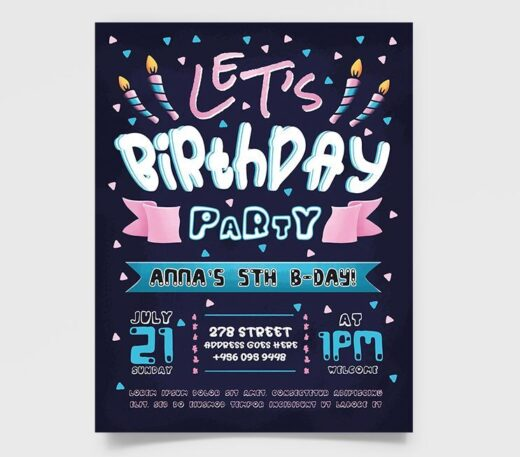 Free Kid's Birthday Party Flyer Template (PSD)
