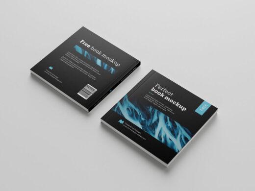 Free Square Book Mockup Set