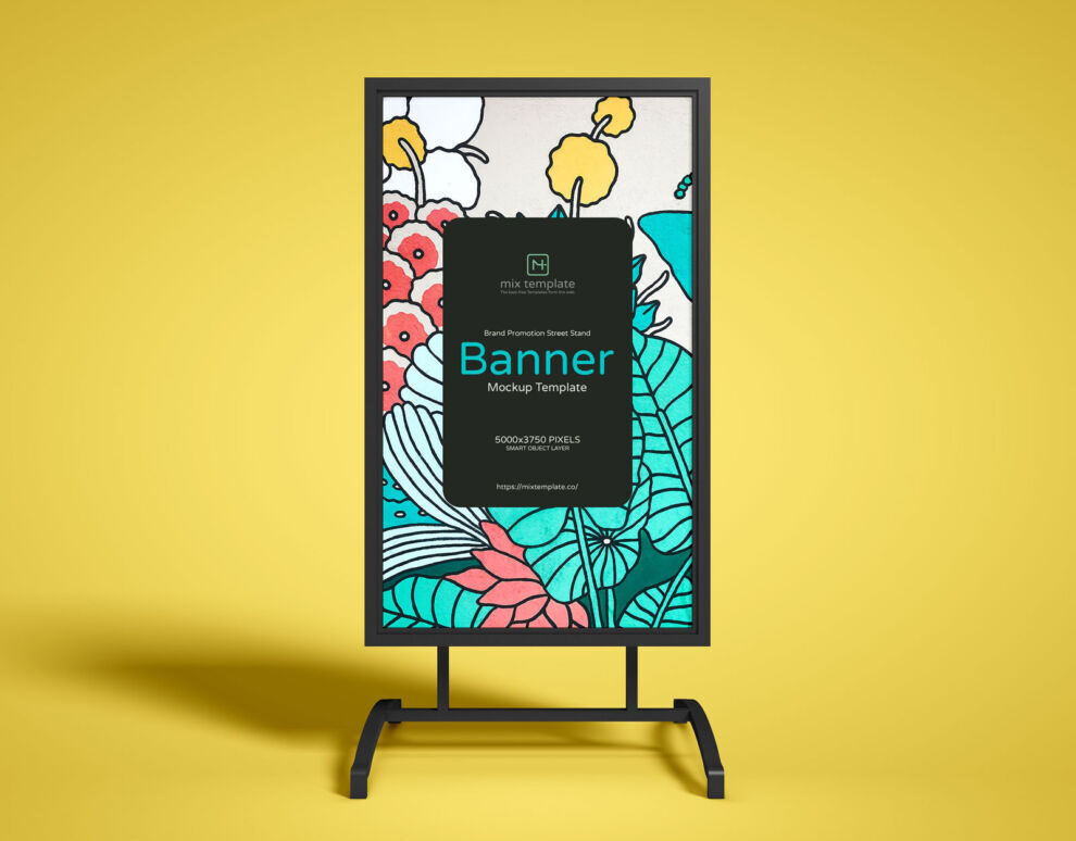 Free Street Stand Banner Mockup