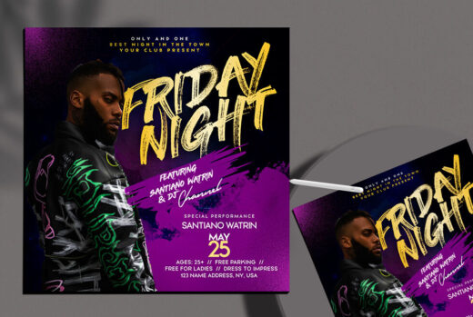 Friday Vibe Night Free Flyer Template (PSD)