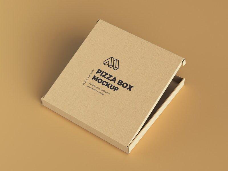 Half Opened Pizza Box Free Mockup