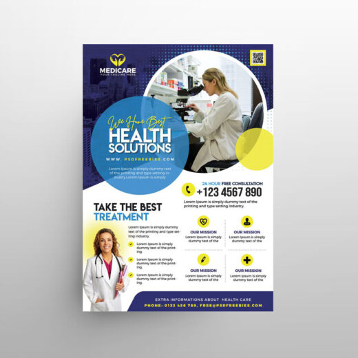 Healthcare & Pharm Ad Free Flyer Template (PSD)