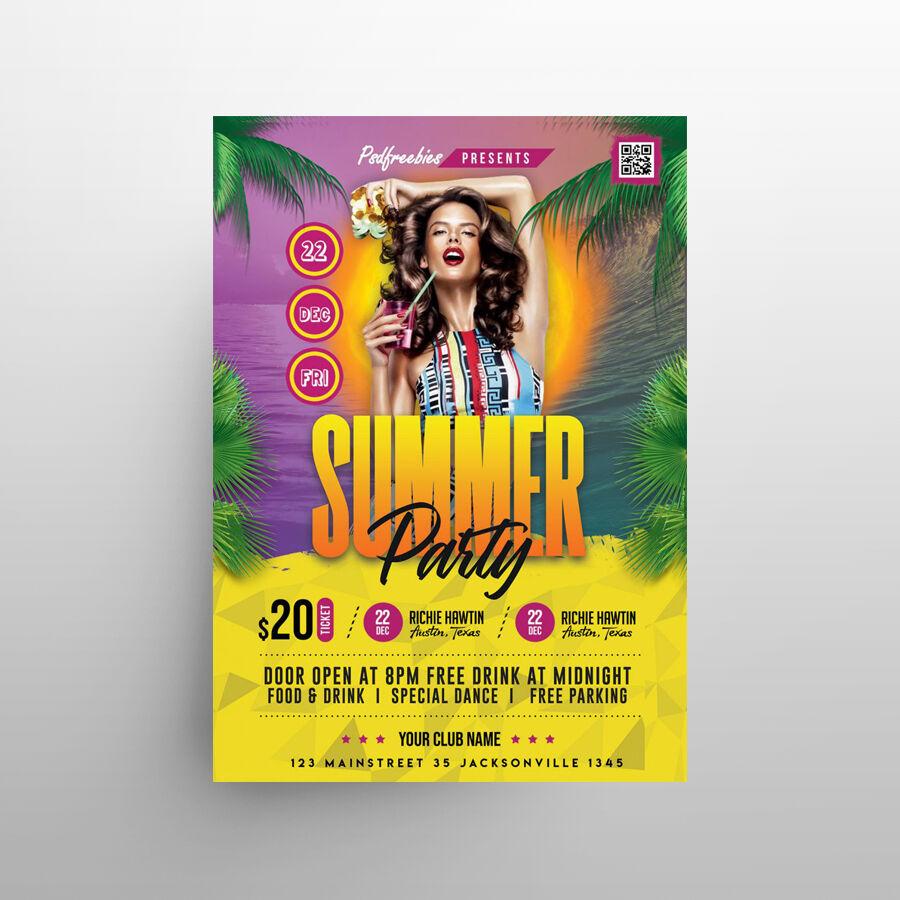 Hot Summer Event Free Flyer Template (PSD)
