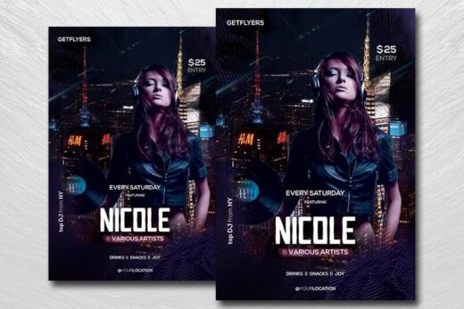 Party DJ Night Free Flyer Template (PSD)