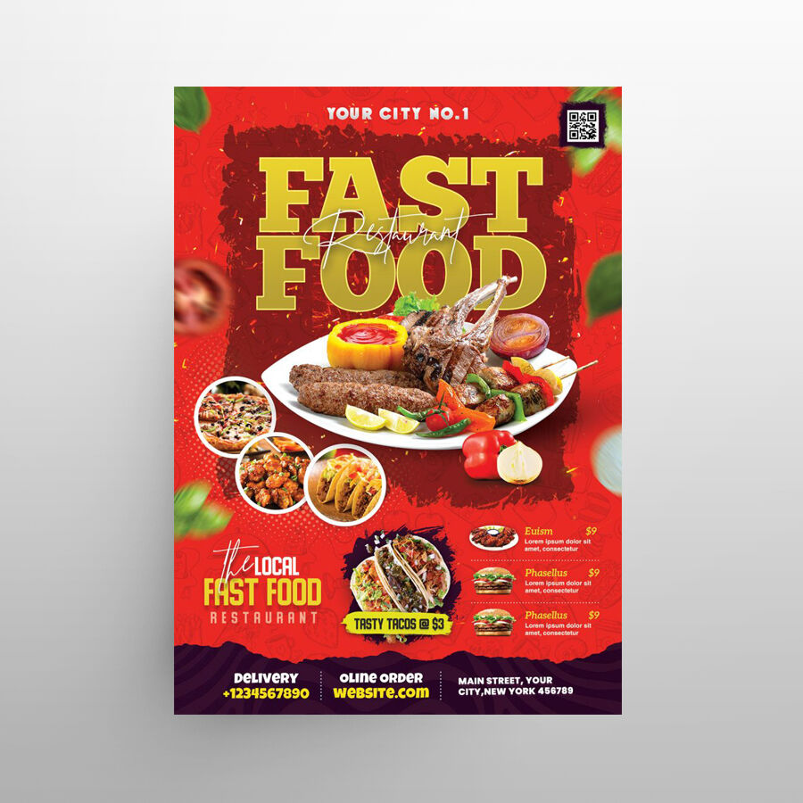 Restaurant Food Ad Free Menu Template (PSD)