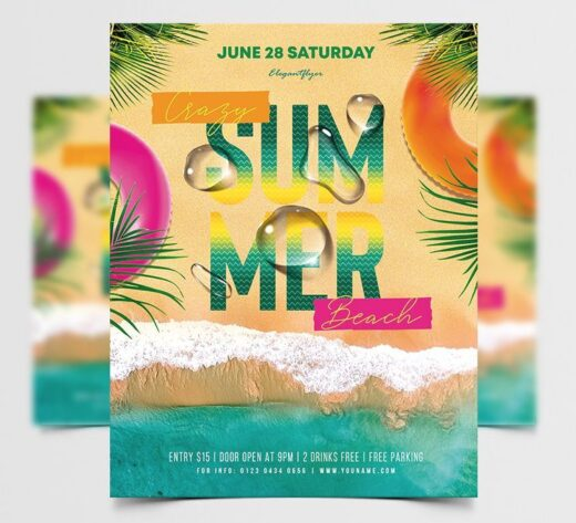 Summer 2021 Beach Party Free Flyer Template (PSD)