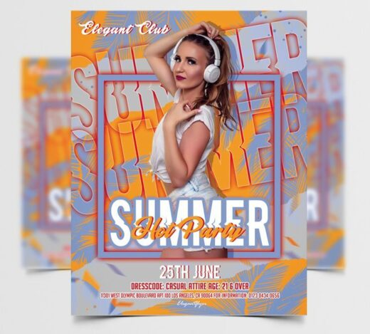 Summer DJ Party Free Flyer Template (PSD)