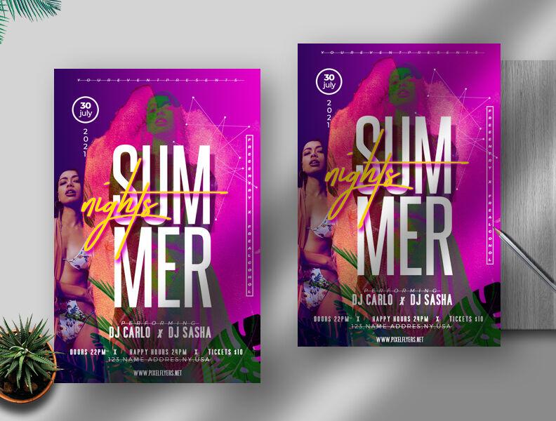 Summer Nights Free Flyer Template (PSD)