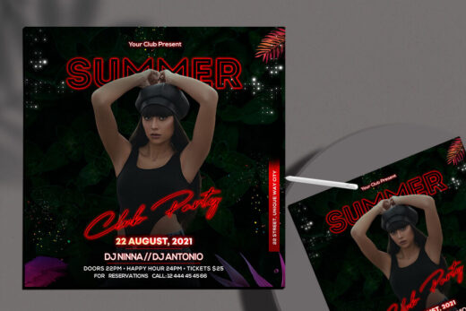 Summer Party Night Free Flyer Template (PSD)