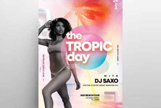 The Tropic Party Free Flyer Template (PSD)