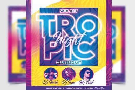 Tropical Party Night Free Flyer Template (PSD)