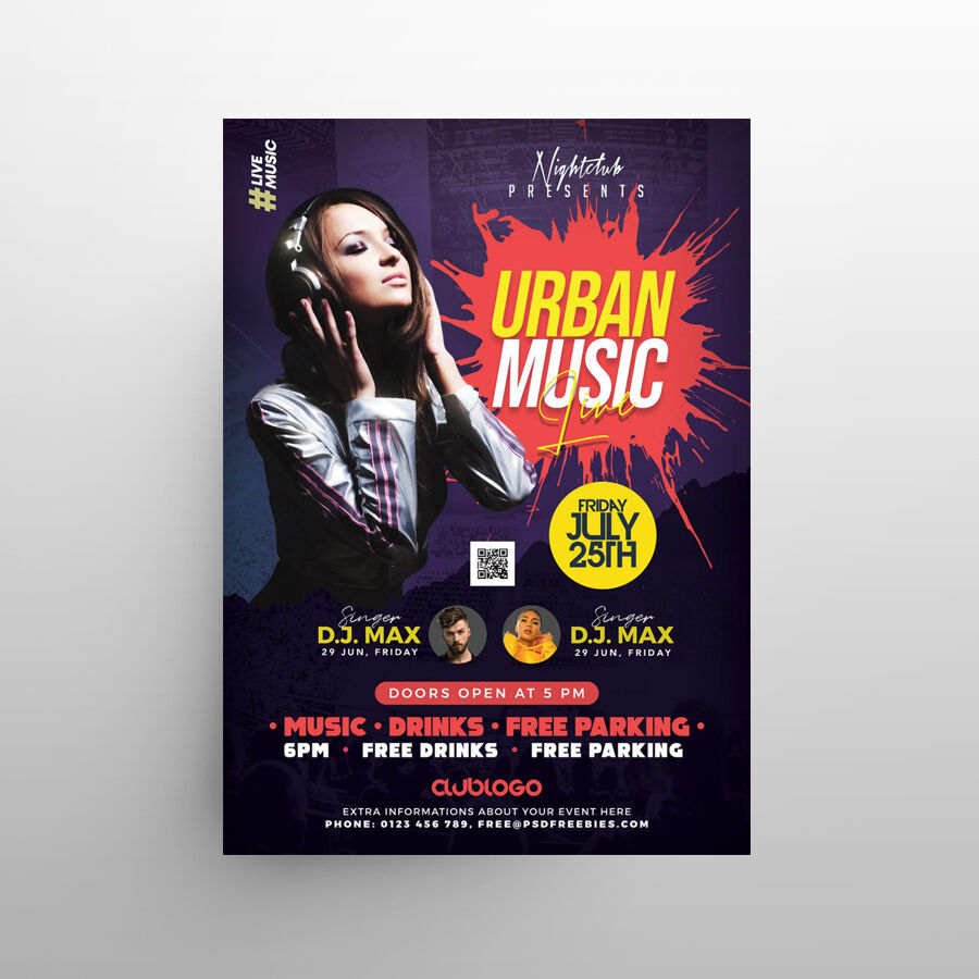 Urban Night Party Free Flyer Template (PSD)