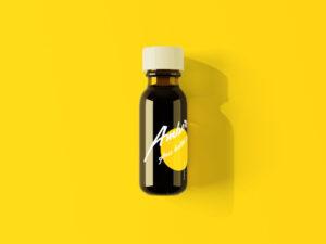 Amber Glass Mini Bottle Free Mockup
