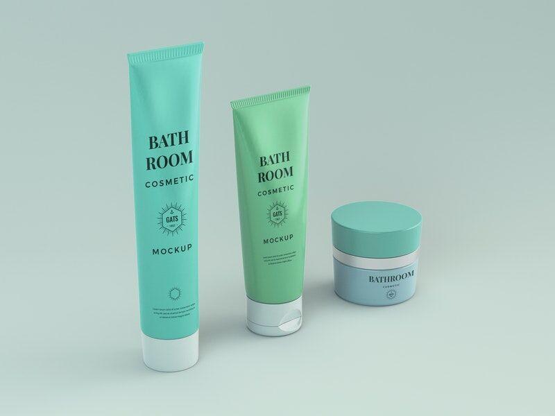 Bathroom Cosmetic Set Free Mockup