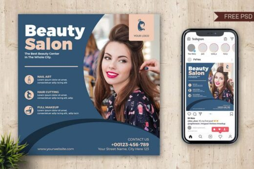 Beauty Parlour Salon Free Instagram Banner (PSD)