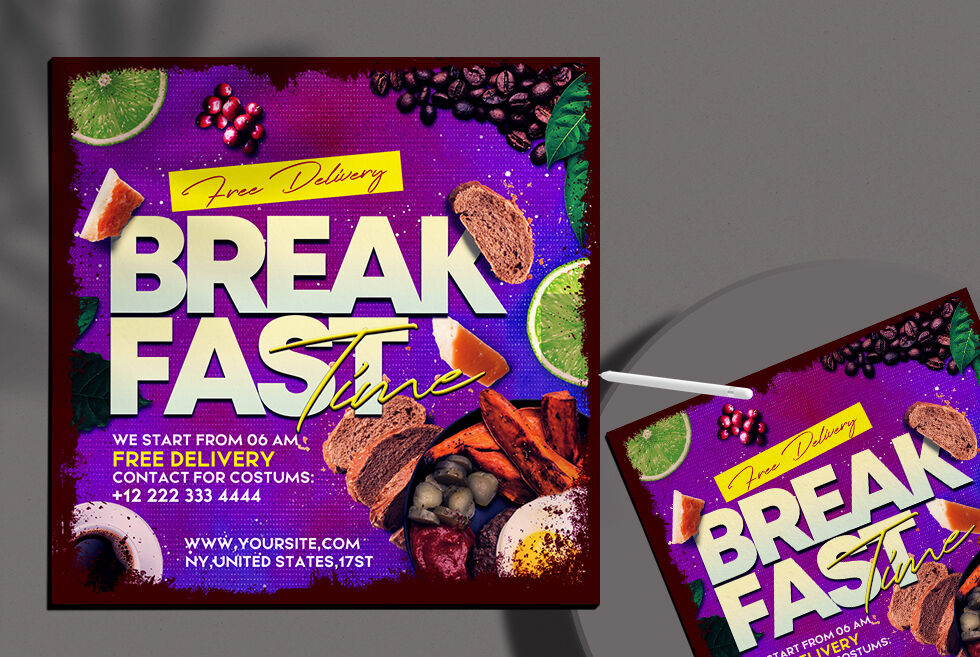 BreakFast Time Ad Free Instagram Banner Template (PSD)