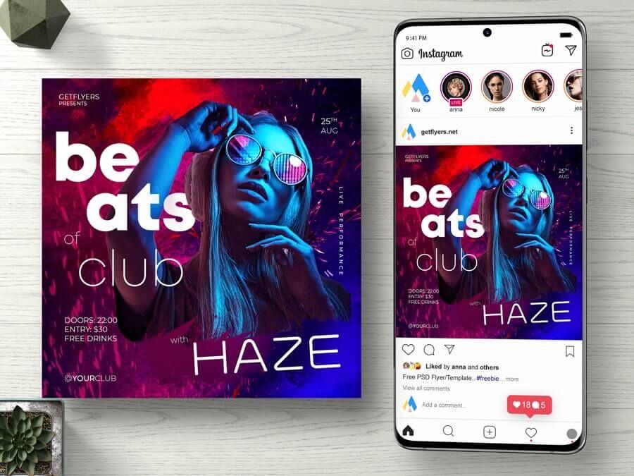 Club Beats Music Free Instagram Banner Template (PSD)