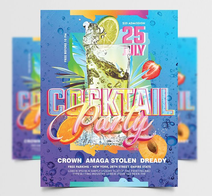 Cocktail Summer Party Free Flyer Template (PSD)