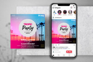 Colorful Tropical Party Free Instagram Banner (PSD)