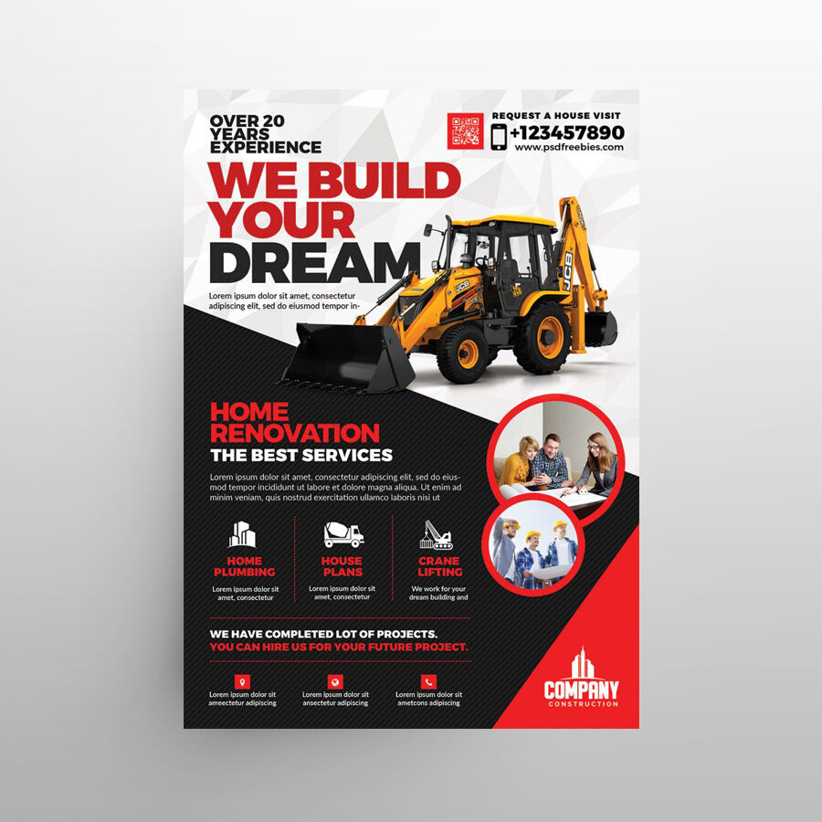 Construction Business Ad Free Flyer Template (PSD)