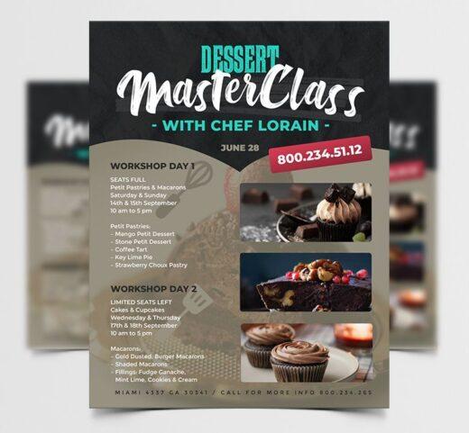 Dessert Masterclass Free Flyer Template (PSD)