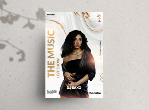 Elegant White & Gold Free Flyer Template (PSD)