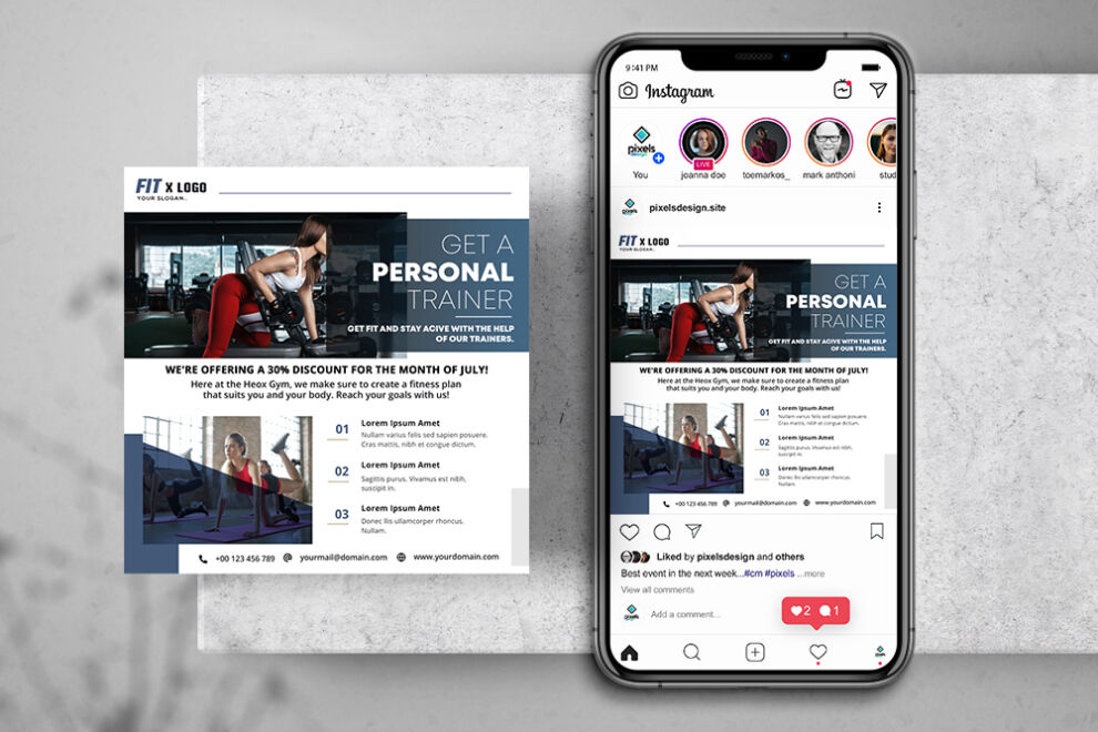 Fitness Personal Trainer Free Instagram Banner Template