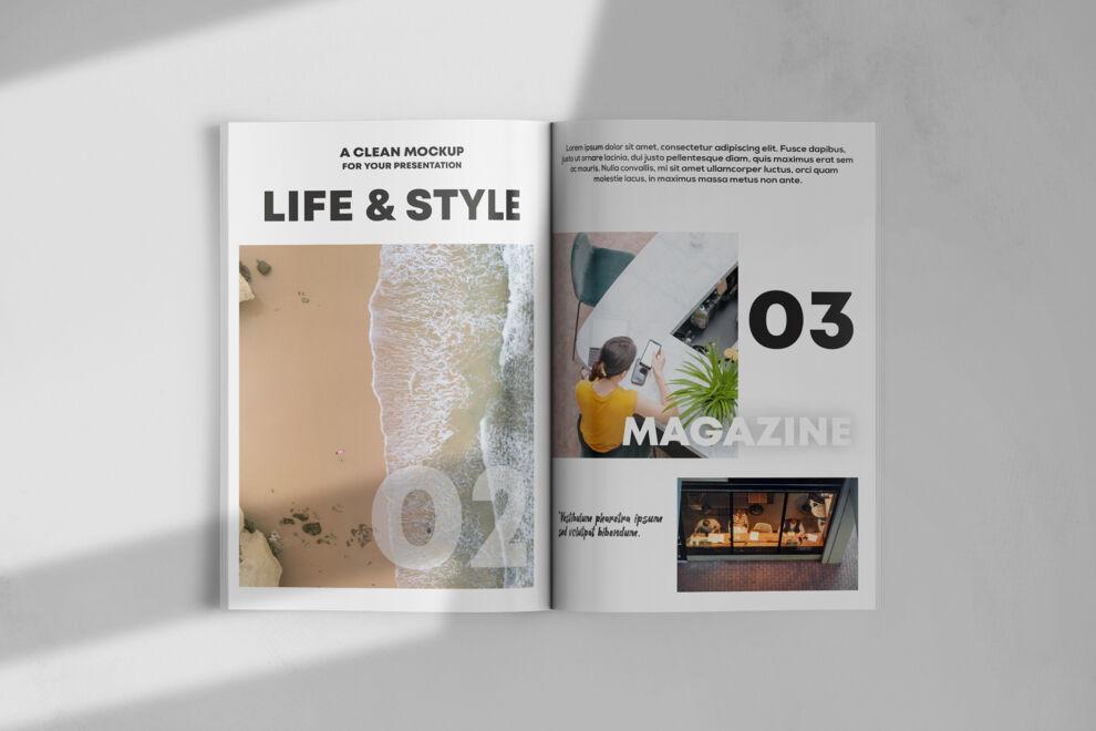 Free Opened Magazine Mockup