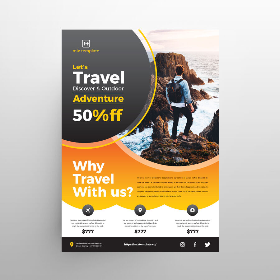 Free Travel Ad Flyer Template (PSD)